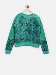 Slub Juniors Boys Green Printed Sweatshirt