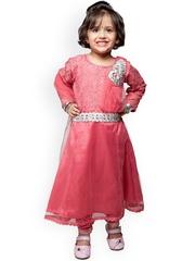 StyleStone Girls Pink Anarkali Churidar Kurta with Dupatta