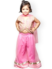 StyleStone Pink Embroidered Top with Palazzo Trousers & Dupatta