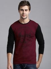 Moda Rapido Maroon Printed T-shirt