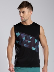 HRX by Hrithik Roshan Black Sleeveless Printed Training T-shirt
