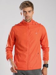 HRX by Hrithik Roshan Orange Lightweight All Day Long Hooded Jacket