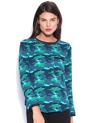 Tokyo Talkies Teal Blue & Green Camouflage Print Top