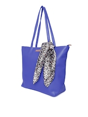 Cappuccino Blue Textured Shoulder Bag with Scarf