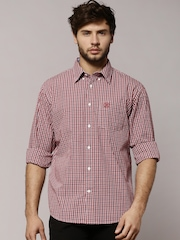 Marks & Spencer Blue Harbour Maroon Checked Smart Casual Shirt