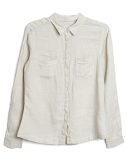 Marks & Spencer Women Beige Linen Smart Casual Shirt