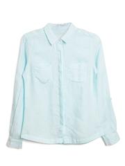 Marks & Spencer Women Mint Green Linen Smart Casual Shirt