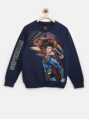 Superman by Kids Ville Boys Navy Printed Sweatshirt
