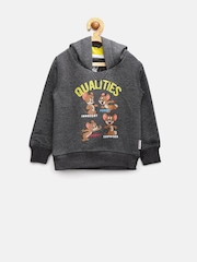 Tom & Jerry by Kids Ville Boys Charcoal Grey Printed Hooded Sweatshirt