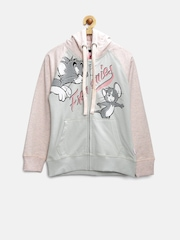 Tom & Jerry by Kids Ville Girls Pink Printed Hooded Sweatshirt