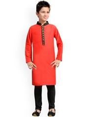 K&U Boys Red & Black Kurta Pyjama Set