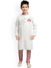 K&U Boys White & Pink Kurta Pyjama Set