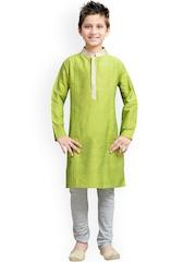 K&U Boys Green & Grey Silk Kurta Pyjama Set