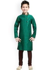 K&U Boys Green & Brown Silk Kurta Pyjama Set