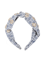 Accessorize Off-White & Navy Printed Embellished Hairband