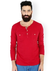 MR BUTTON Red Henley Slim Fit T-shirt