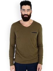 MR BUTTON Olive Green Slim Fit T-shirt