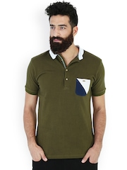 MR BUTTON Olive Green Slim Fit Polo T-shirt