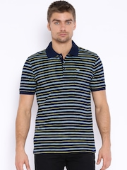 Park Avenue Navy & Yellow Striped Polo T-shirt