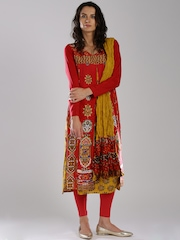 IMARA by Sharddha Kapoor Red & Mustard Printed Churidar Kurta with Dupatta