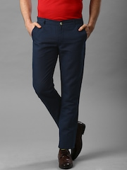 INVICTUS Navy Linen Slim Fit Trousers