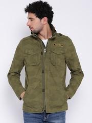 Flying Machine Olive Green Camouflage Print Jacket