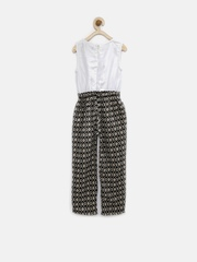Gini & Jony Girls White & Black Printed Jumpsuit