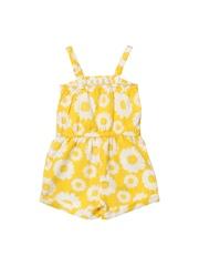 Beebay Girls Yellow Floral Print Playsuit