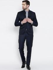 Blackberrys Navy Linen Single-Breasted Partywear Suit