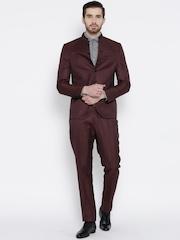Blackberrys Burgundy Linen Single-Breasted Partywear Suit