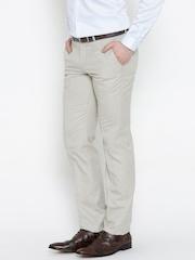 Blackberrys Cream-Coloured Sharp Fit Formal Trousers