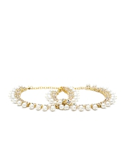 Imli Street Gold-Toned Stone-Studded Double-Sided Anklets