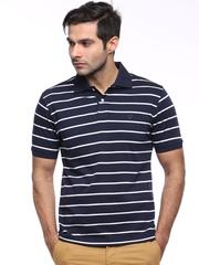 Allen Solly Navy Striped Polo T-shirt
