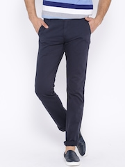 Allen Solly Navy Smart Fit Chino Trousers
