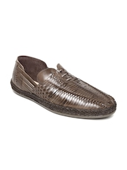 Estd. 1977 Men Brown Basketweave Leather Casual Shoes