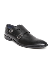 Estd. 1977 Men Black Leather Monk Shoes