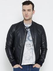 BARESKIN Navy Leather Biker Jacket
