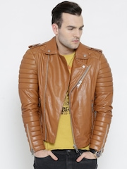 BARESKIN Tan Brown Leather Biker Jacket
