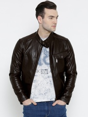 BARESKIN Brown Leather Biker Jacket