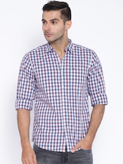 Lee White & Blue Checked Smart Slim Fit Casual Shirt