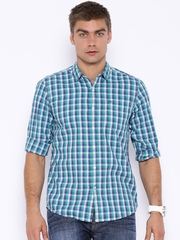 Lee Green & White Checked Smart Slim Fit Casual Shirt