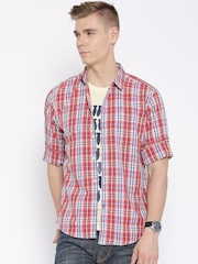 Lee Red & Blue Checked Smart Slim Fit Casual Shirt