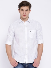 U.S. Polo Assn. White Printed Linen Tailored Fit Shirt