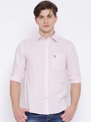 U.S. Polo Assn. Pink Printed Linen Tailored Fit Shirt