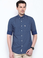 U.S. Polo Assn. Blue Floral Printed Tailored Fit Casual Shirt