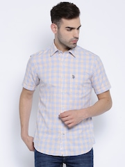U.S. Polo Assn. White & Yellow Checked Tailored Fit Casual Shirt