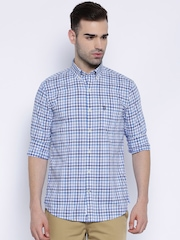 U.S. Polo Assn. White & Blue Checked Tailored Fit Casual Shirt