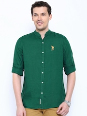 U.S. Polo Assn. Green Linen Casual Shirt