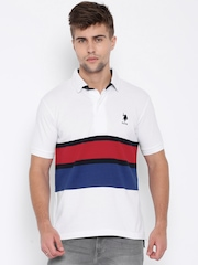 U.S. Polo Assn. White Striped Polo T-shirt