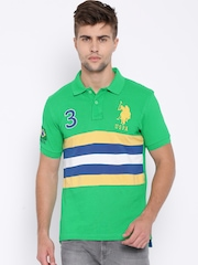 U.S. Polo Assn. Green Striped Polo T-shirt